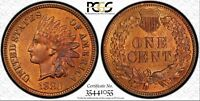 1880 INDIAN HEAD CENT SNOW 1 PCGS MS 63 RB DDO & REVERSE DIE CLASH.  BEAUTY