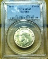 1945 AUSTRALIA UNCIRCULATED STERLING SILVER FLORIN   PCGS MS