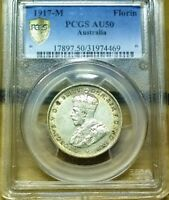 1917 AUSTRALIA AUNCIRCULATED STERLING SILVER FLORIN   PCGS A