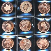 9  ASSORTED 1 OZ AVDP OUNCE 999 FINE COPPER LIBERTY ROUND SPECIMEN BULLION