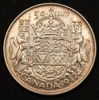 1947 CANADA SILVER 50 CENTS. CURVE RIGHT 7. KING GEORGE VI VINTAGE COIN