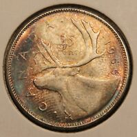 1966 CANADA SILVER 25 CENTS. COLORFULLY TONED