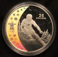 2007 SKIING CANADA $25 STERLING SILVER HOLOGRAM OLYMPICS COIN. 28 GRAMS