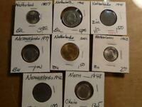 NETHERLAND 8 DIFFERENT COINS MIX YEARS BU CONDITION SKU 8406