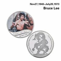 BRUCE LEE SILVER PLATED METAL CHALLENGE COMMEMORATIVE COIN