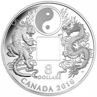 2016 CANADA $8 SILVER PROOF TIGER AND DRAGON YIN YANG SQUARE HOLE COIN. NO TAX