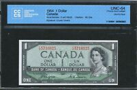 1954 $1 DEVIL'S FACE HAIR BANK OF CANADA CCCS CHOICE UNC 64. COYNE TOWERS BC 29A