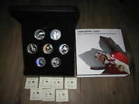 2007 2009 SET OF 7X$25 $175 SOLID SILVER 1 OZ HOLOGRAM OLYMPICS COINS. CASE COAS