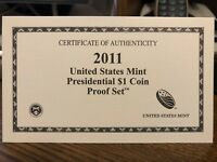 2011 PRESIDENTIAL $1 PROOF SET COA CERTIFICATE OF AUTHENTICITY ONLY NO COINS/BOX