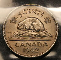 1942 CANADA 5 CENTS NICKEL ICCS MS 65    HIGH GRADE COIN. BV $600. WK 186