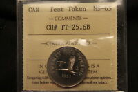 1965 CANADA 25 CENTS TEST TOKEN CH TT 25.6B REEDED EDGE. ICCS MS 65