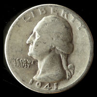 1941 P WASHINGTON 90  SILVER QUARTER SHIPS FREE. BUY 5 FOR $2 OFF