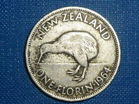 1 FLORIN 1964 NEW ZEALAND COIN LOW SHIPPING  COMBINE FREE