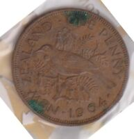 H101 10  1964 NZ ONE PENNY COIN  J