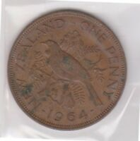 H101 13  1964 NZ ONE PENNY COIN  M