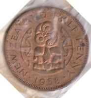 H101 6  1958 NZ 1/2 PENNY COIN  F
