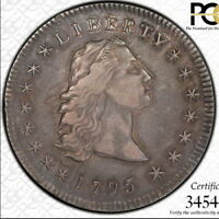 1795 FLOWING HAIR DOLLAR, 3 LEAVES, PCGS EXTRA FINE 40