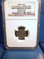 1889 3C CENT CLAMSHELL LAMINATION MINT ERROR EXTRA FINE  DETAILS SCRATCHES NGC