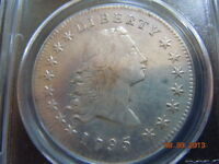 1795 FLOWING HAIR DOLLAR, 2 LEAVES, PCGS EXTRA FINE  DETAILS, STRONG HAIR TOP TO BOTTOM