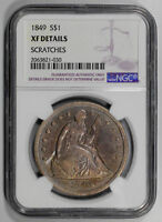 1849 SEATED SILVER $1 DOLLAR NGC EXTRA FINE  DETAILS  PIECE OF COIN HISTORY