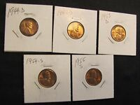 LOT OF 5 HIGH GRADE LINCOLN WHEAT CENTS - 1944-D, 1947-D, 1953-D, 1954-S, 1955-S