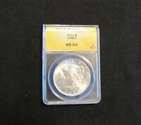 1922 PEACE SILVER DOLLAR VAM 2 ANACS MINT STATE 63