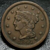 1847 BRAIDED HAIR LARGE CENT EXTRA FINE /AU 1C EARLY COPPER TYPE COIN