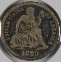 1889 10C SEATED LIBERTY DIME GOOD CONDITION 174310