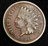 1862 1 CENT INDIAN HEAD PENNY ONE CENT US COIN