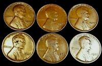 1926 1 CENT BN LINCOLN CENT LOT OF 6 US COINS
