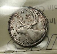 1945 CANADA SILVER 25 CENTS ICCS MS 65 GEM UNC. SATIN LUSTRE TONED. BV $400