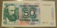 1990 NORWAY 50 FEMTI KRONER   CHOICE UNC  UNCIRCULATED BANKNOTE SN: 1110553155