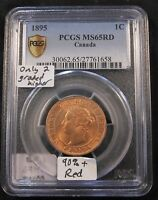 1895 CANADA LARGE CENT PCGS MS65 FULL RED. ONLY 2 GRADED HIGHER  BV $1 725