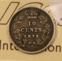1875 H CANADA SILVER 10 CENTS. ICCS VF 30.  KEY DATE. TONED. BV $2 250