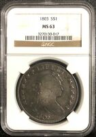 1803 DRAPED BUST SILVER DOLLAR. BB-252, B-5. NGC MINT STATE 63
