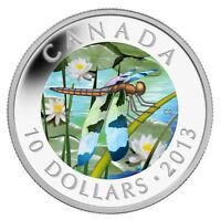 2013 $10 SILVER CANADA TWELVE SPOTTED SKIMMER DRAGONFLY HOLOGRAM COIN   NO TAX