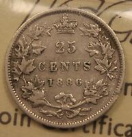 1886 CANADA SILVER 25 CENTS ICCS VG 10 6/3 6 OVER 3 OBV 5 LBE LONG BOUGH ENDS.