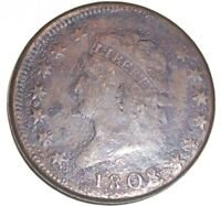1808 CLASSIC HEAD 1C, S-279, R-1, CIRCULATED, F-VF DETAILS, CORRODED