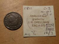 1811 CLASSIC HEAD HALF CENT, WITH GRELLMAN CARD, WITH ISSUES, FINE DETAILS,7622