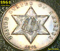 1861 3-CENT SILVER - MINT STATE UNCIRCULATED  SEMI-PROOFLIKE