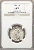 1926 P NGC AU58 STANDING LIBERTY SLQ SILVER QUARTER  TYPE COIN LUSTROUS