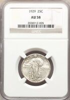 1929 P NGC AU58 STANDING LIBERTY SLQ SILVER QUARTER  TYPE COIN LUSTROUS