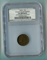 1896 1C PENNY STRUCK 5 OFF CENTER VG DETAILS IMPROPERLY CLEANED NCS GUARANTEED