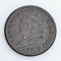 1809/6 CLASSIC HEAD HALF CENT 9 OVER INVERTED 9 CHOICE FINE