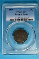 1806 LARGE 6, STEMS DRAPED BUST HALF CENT PCGS F12-   LOOKIN EARLY COPPER