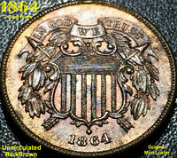 1864 2-CENT PIECE RB LARGE MOTTO - CHOICE UNCIRCULATED