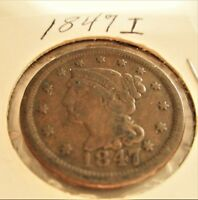 U.S. COIN: 1847 I BRAIDED HAIR LARGE CENT/PENNY