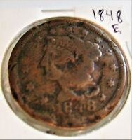 U.S. COIN: 1848 E BRAIDED HAIR LARGE CENT/PENNY