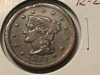 1851 1C BN BRAIDED HAIR CENT EXTRA FINE  CONDITION- SEE PICTURES - 60 OFF LIST PRICE