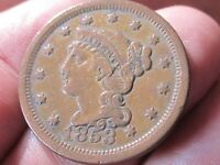 1853 BRAIDED HAIR LARGE CENT,   EXTRA FINE COND - COLLECTIBLE COIN